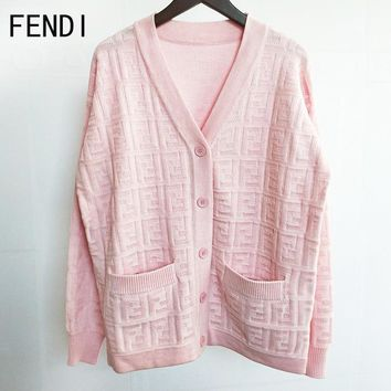 FENDI Autumn Winter Popular Women F Letter Jacquard V Collar Knit Cardigan Jacket Coat