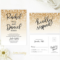 Glitter wedding Invitation and RSVP card bundle printed | Gold sparkle wedding cards | New Years Eve wedding | Gold confetti invites