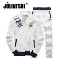 2017 Autumn Brand Men's Two Pieces Sets Casual Men's Sportswear Set Male Active Tracksuit Stand Collar Mens Hoodies Sets 4XL