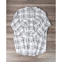 Women's Ex-Boyfriend Flannel Shirt in Black + White Plaid