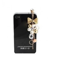Wisedeal Colorful 3.5mm Gold Plated Pink Flowers Golden Bow Crystal Golden Beads Pearl Cellphone Charms Anti-Dust Dustproof Earphone Audio Headphone Jack Plug Stopper for iPhone 4 4S Samsung Galaxy S2 S3 Note I9220 HTC Sony Nokia Motorola LG Lenovo