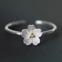 Retro 925 Silver Cute Floral Crown Womens Adjustable Ring Gift 69
