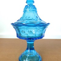 Aqua blue Tiara Glass strawberry pattern pressed glass lidded candy dish in perfect condition, pattern #515