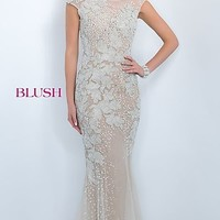 Long Beaded Prom Dress with Cap Sleeves by Blush