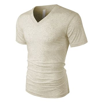 PREMIUM Mens Classic Relaxed Fit Short Sleeve V Neck Tee (CLEARANCE)