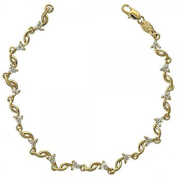 Gold Layered 5.030.009 Fancy Bracelet, Flower Design, with White Cubic Zirconia, Resin Finish, Golden Tone