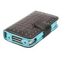 Wallet Dot Leather Case for iPhone 4/4S - Black/Blue