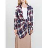 Lightweight Long Sleeve Tie Front Plaid Tunic Shirt (CLEARANCE) (CLEARANCE)