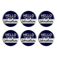 Johnathan Hello My Name Is Plastic Resin Button Set of 6