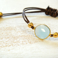 Blue Chalcedony Adjustable Waxed Cord Friendship Bracelet or Anklet