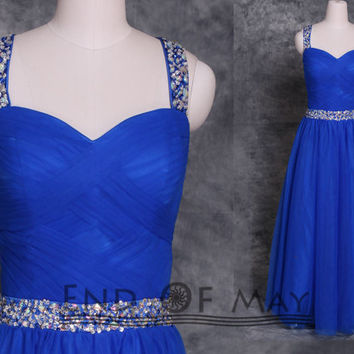 Sweetheart Two Shoulder Tulle Beading Rhinestones Prom Dresses,long prom dresses,prom dress,prom dresses,blue prom dresses,blue prom dress