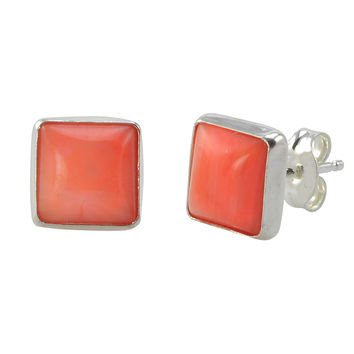 Pink Coral Gemstone Earrings 925 Sterling Silver 9mm Square