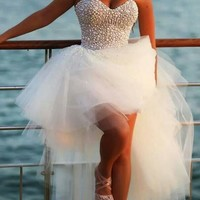 High Low Sweetheart Beadings White Homecoming Dress Fast Free Shipping