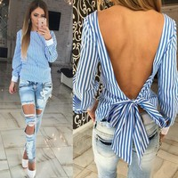 Backless Striped Blouse Long Sleeve