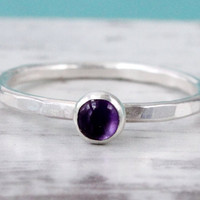 Amethyst ring, Sterling silver ring, February birthstone, stacking ring, handmade, purple ring, 4 mm gemstone ring, February birthstone