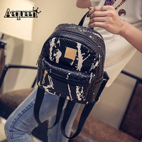 Women Backpack Crocodile PU Shoulder Bags Small Mochilas Korean Preppy Style Teenage Girls Schoolbags College Mini Packs