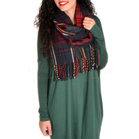 Long Sleeve Piko Tunic - Forest Green