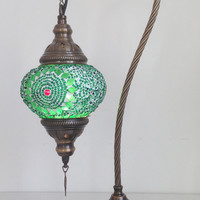 Green Swan Neck  Mosaic Lamp With Vintage Look Bronze Plated Base, Bedside night lamp, Turkish night lamp, Night Decoration, Midcentury Lamp
