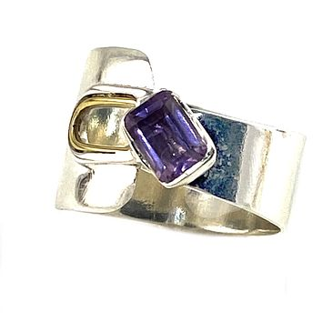 Amethyst Two Tone Sterling Silver Adjustable Mod Wrap Ring