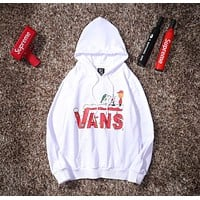 VANS Hot Sale Women Men Loose Print Long Sleeve Hoodie Sweater Sweatshirt White