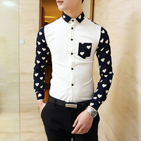 Heart Polka Dot Long Sleeve Collared Shirt