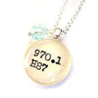 Faceted Ice Blue Pastel Glass Globe Dewey Decimal Vintage Card Catalog Sterling Silver Necklace
