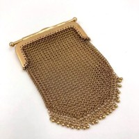 Victorian 15k Yellow Gold Mesh Coin Change Purse Pendant English 15ct