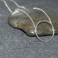 silver circle necklace sterling silver, open circle necklace, dainty necklace, silver ring necklace, eternity necklace, everyday necklace