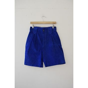 Vintage Leather by Wilsons Royal Blue Leather Shorts