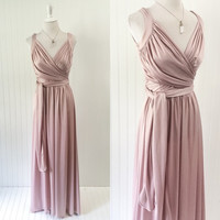 1970s vintage pink blush wrap bust maxi dress ruched crisscross bodice ultra draped goddess // Ursula of Swtizerland // size M