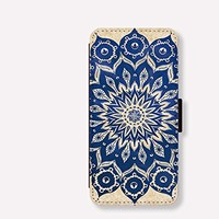 Mandala Pattern Card Slot Leather Case for Iphone 6 Iphone6 Plus Iphone 5c Case Iphone 5s Case Wallet Case for Samsung Calaxy S5 S4 Case Note3 Note4 Case Cell Phone Holster Design Picture Leather Phone Holster Pouch Phone Covers (Case For iPhone 5/5s)