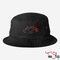 mickeys hand heart love bucket hat
