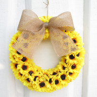 ON SALE Summer Wreath Spring Door Decor Artificial Sunflowers Yellow Orange Black Bordeaux Decoration Wall Brown Burlap Ribbon Wreaths Gift