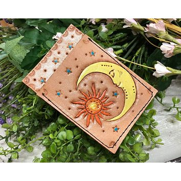 Ready to Ship - Hand Tooled Celestial Sun and Moon Leather Wallet - Leather Card Holder