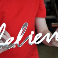 Mirror Word Wall Decor 'BELIEVE' typography by StudioLiscious