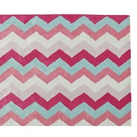 Chevron Zig Zag Pink & Multi Color Hand Tufted Modern Style Woolen Area Rug