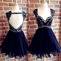 Black Sweetheart Beaded Short Backless Homecoming Dress