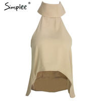 Simplee Apparel Summer style high neck halter women tank top Sexy off shoulder party crop tops Girls casual white chiffon blouse