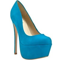 ZIGI GIRL SPYGLASS PLATFORM PUMP - BLUE JEWEL SUEDE