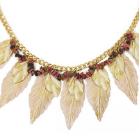 Frosted Autumn Pink Leaves Necklace
