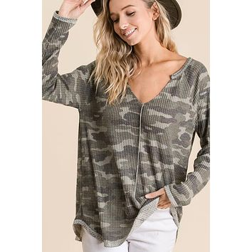 Always On The Move Camo Top