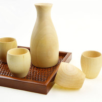 Japanese Sake Wine Cup Pot Set  Wooden Glass 4pcs Cup With 1pc pot