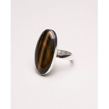 Tiger Eye Oval Ring - Adjustable
