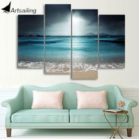 ArtSailing 4 panel canvas art sea beach wave seascape painting Canvas wall art home decoration pictures for living room cu-016