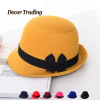 2015 Fashion Vintage Formal Chapeu Hats For Women Fedora Bowknot Cute Wool Felt Cloche Feminino Winter Fedoras Hat Bucket Cap