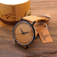 Bobobird E18 New Arrival 2016 Top Quality Round Watches Bamboo Watch Face with Stainless Steel Case Cork Leather Bands