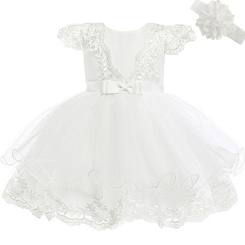 Moon Kitty Baby Girls Embroidery Flower Dress Lace Christening Baptism Gown for Baby Girl 6-10Month Ivory White