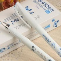 12 pcs/lot Vintage Retro Chinese Style Gel Pen Blue and white porcelain Stationery Office School Supplies Gift Free Shipping 206