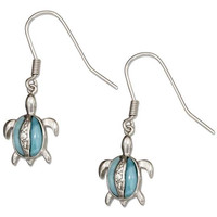 Pave Cubic Zirconia and Larimar Turtle Earrings
