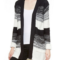 Long Sleeve Striped Knit Cardigan with Open Front